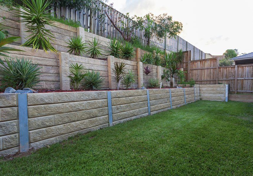 completed backyard retaining wall